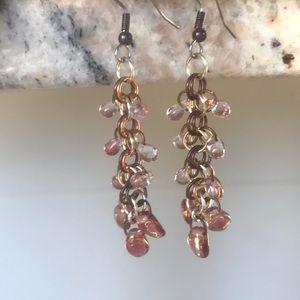 Crystal hanging pierced earrings